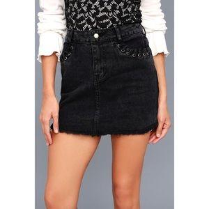 Lulu's Skirts - Sky Full Of Stars Black Denim Mini Skirt
